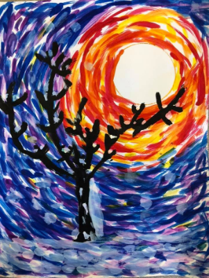 Student painting of a tree