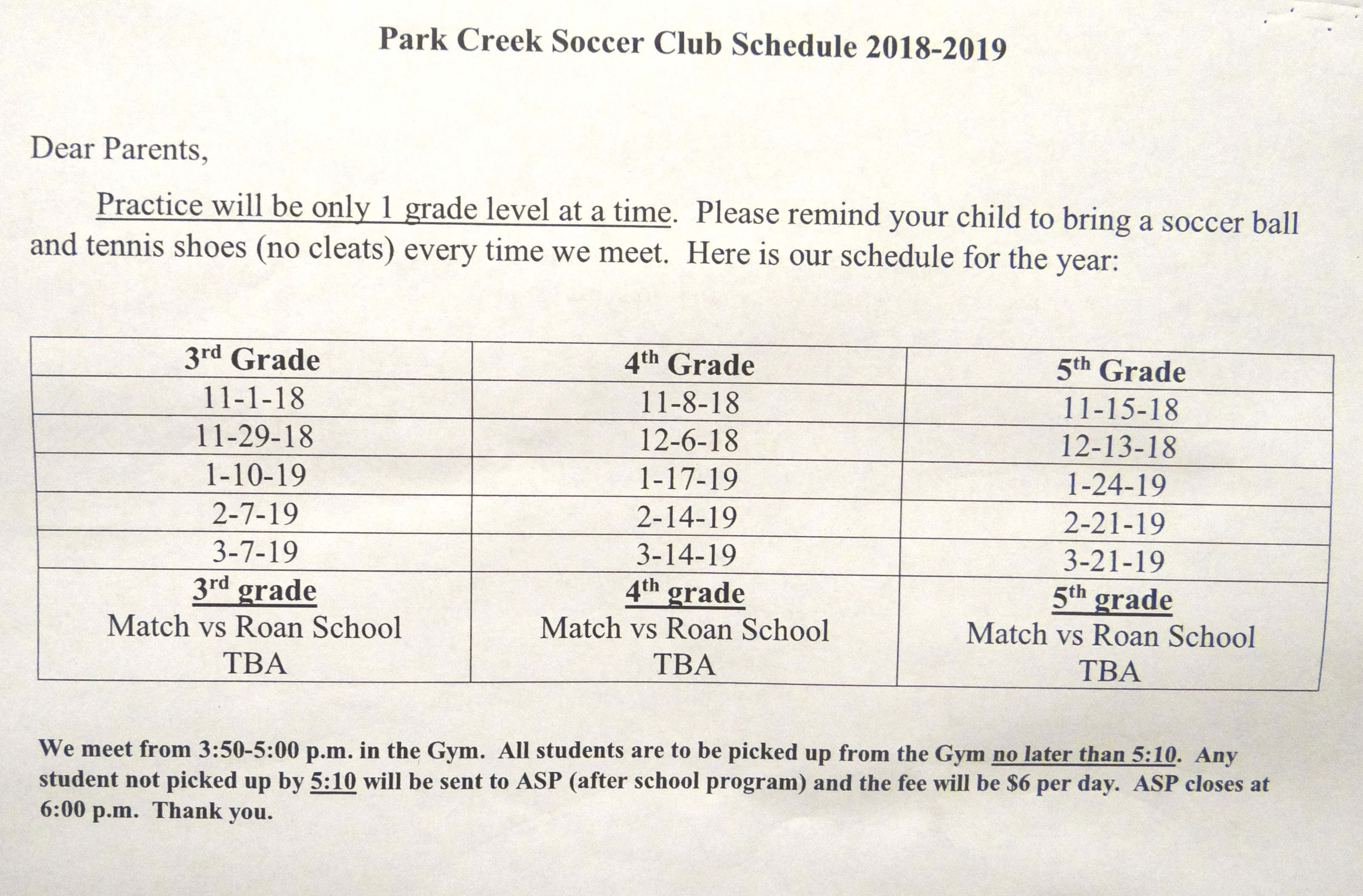 soccer club schedule